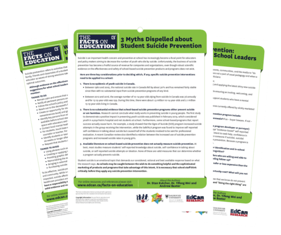 3 Fact Sheets on Suicide prevention
