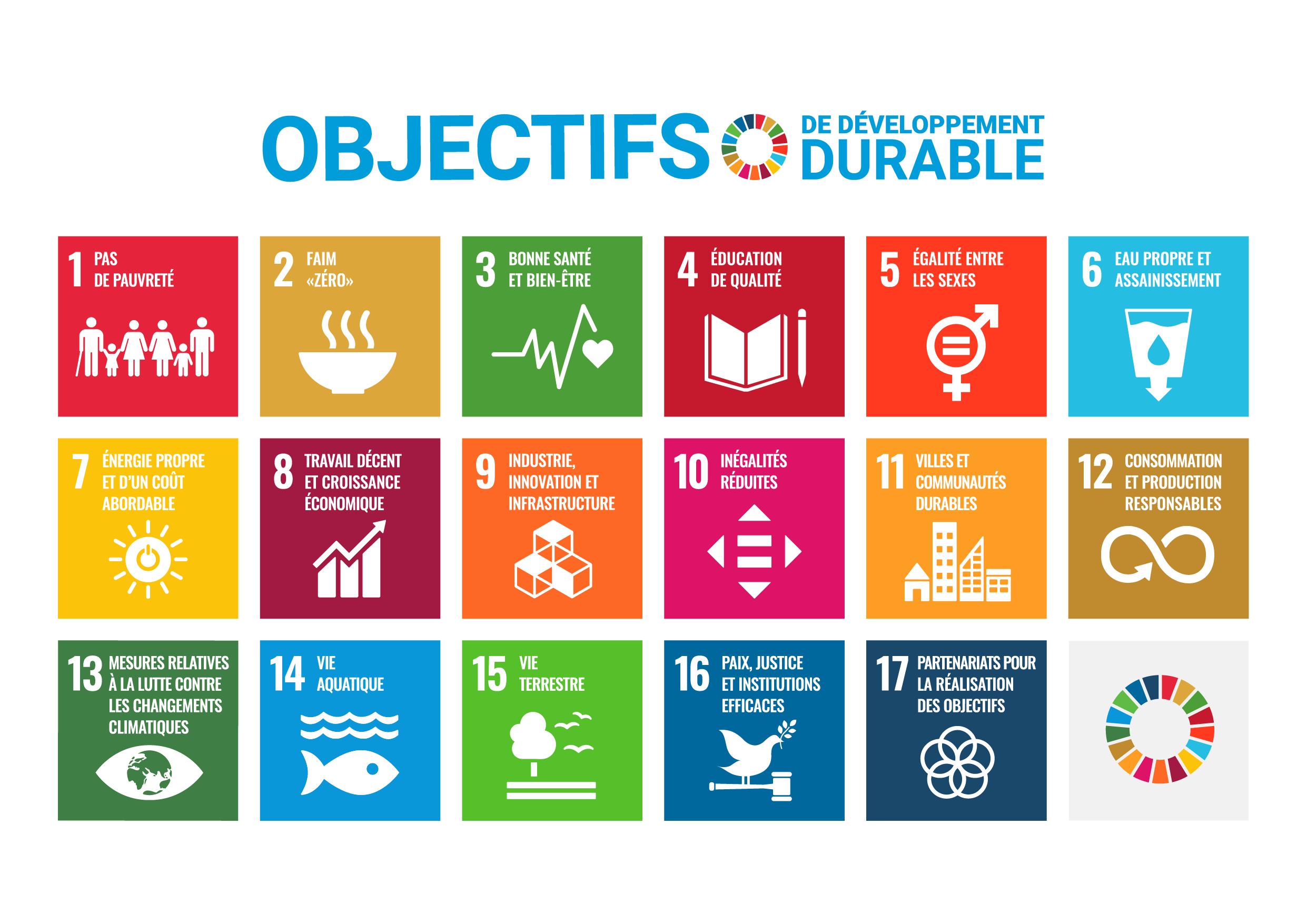 Une affiche démontrant les 17 Objectifs de développement durable.