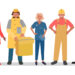 An illustration of adults dressed up in clothes representing various careers.