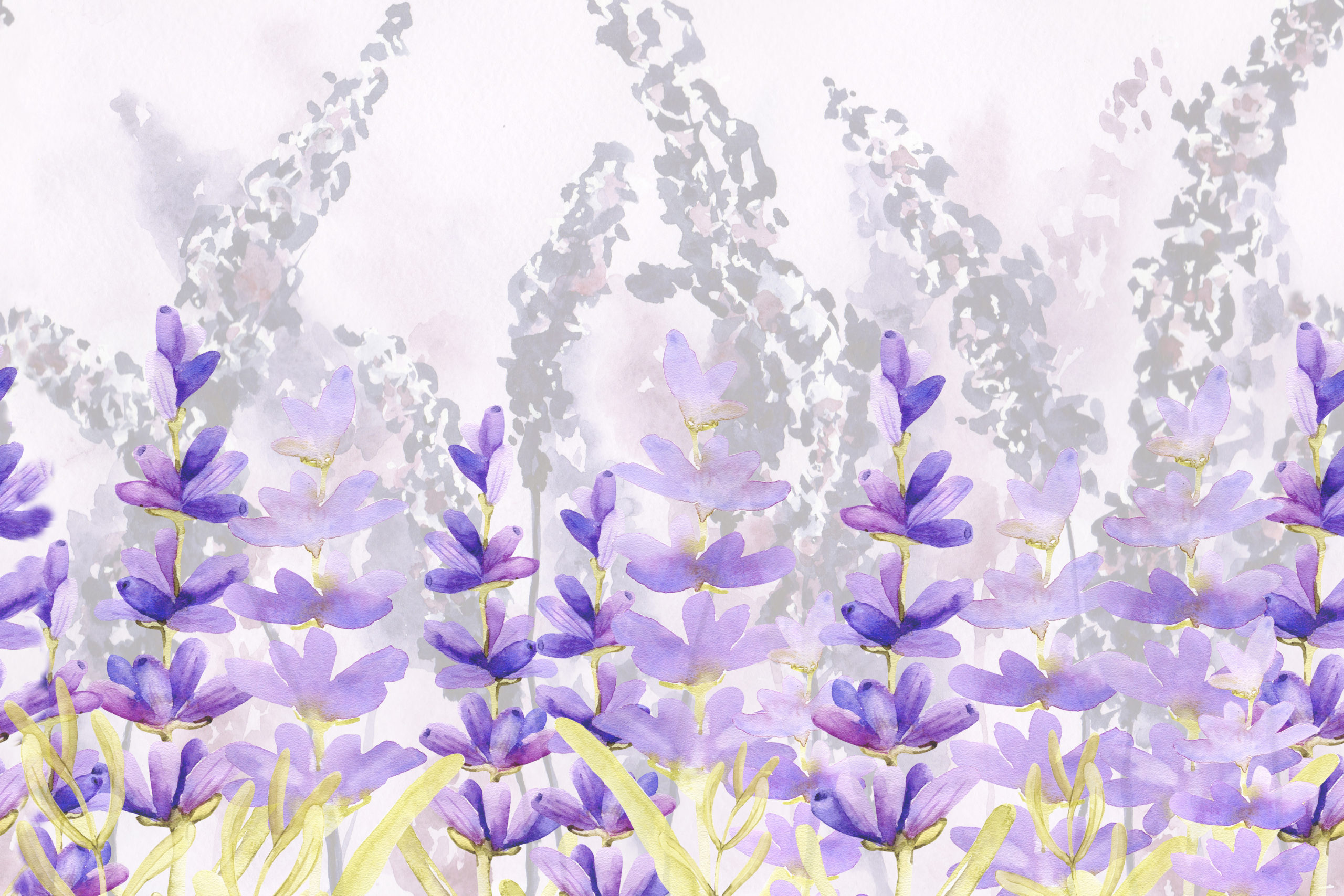 Seamless pattern border with sprigs of lavender flowers in the ...