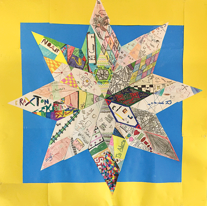 The paper star quilt created by our classroom community.