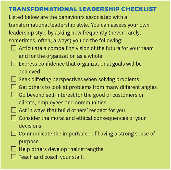 Transformational leadership checklist