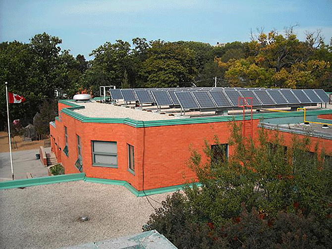 Rooftop solar panels at Hillcrest Community School, Toronto