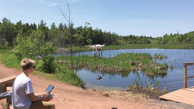Fredericton, N.B. students used drones, microcontrollers, 3D design and printing, robotics, and coding to collect water samples without disturbing sensitive wetlands.