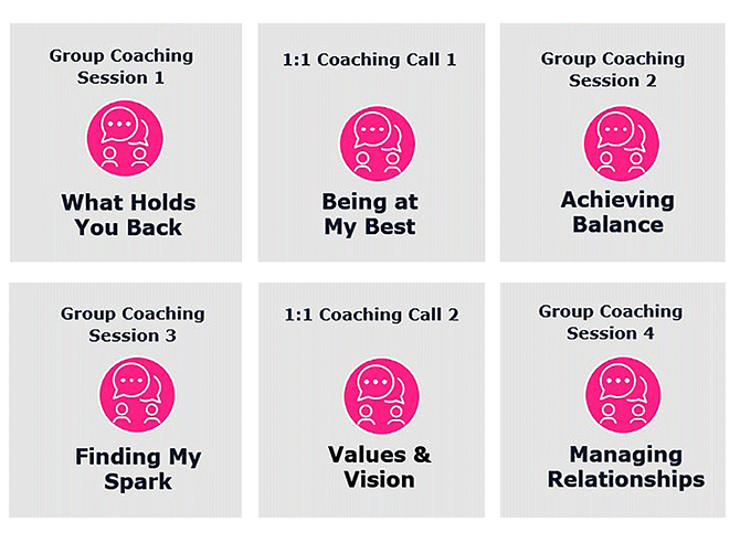 """A chart, titled """"Surviving to Thriving Coaching Journey"""", showing steps in the virtual coaching program."""